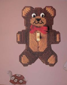 Night Teddy Switch Plate Cover pc - could do as a magnet or something else too Plastic Canvas Box Patterns, Plastic Canvas Coasters, Plastic Canvas Ornaments, Plastic Canvas Crafts, Plastic Craft, Switch Plate Covers, Switch Plates, Light Switch Covers, Lighted Canvas