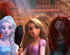 Rapunzel Merida and Elsa in the tower