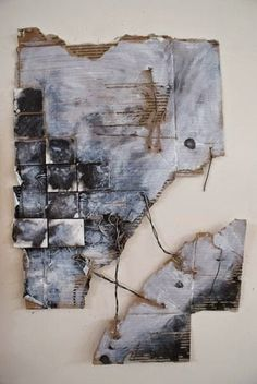 artwork on corrugated cardboard by an A-level student at Matravers School in Westbury, Wiltshire, UK abstract art painting Art Du Collage, Mixed Media Collage, Mixed Media Artwork, Painting Collage, Collage Artists, Mixed Media Artists, Inspiration Art, Art Inspo, Cardboard Art