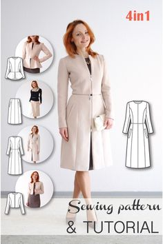 4-in-1 Transformable Coat (Coat, Jacket Bolero, Skirt) Sewing Pattern and Sewing Tutorial