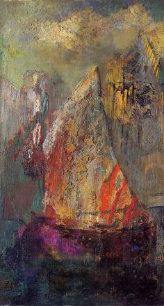 """A boat """"La Barque"""" by French painter Odilon Redon, oil on panel, early 1900's"""