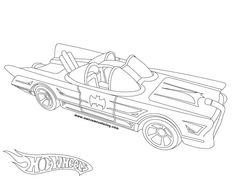 Awesome Hot Wheels 1966 Batmobile coloring page ready to download or print. Great coloring activity for kids who like Batman or Hot Wheels toy-cars.