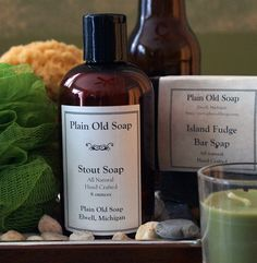 Liquid Stout Soap - Liquid Stout Soap made with a Michigan brewed stout beer and is an indulgent cleansing, lathering, and moisturizing experience. The barley, hops and sugars contained in the stout add a great creamy lather to this soap. It is gentle and mild and cleans away all those nasties without stripping.