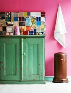 Wandfliesen Für Die Küche U2013 Tolle Küchenausstattung Ideen   Wandfliesen  Küche Grün Küchenschrank Rosa Wand