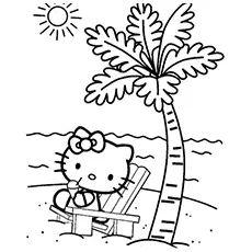 Hello Kitty Halloween, Hello Kitty Crafts, Hello Kitty Themes, Hello Kitty Birthday, Beach Coloring Pages, Free Kids Coloring Pages, Tree Coloring Page, Free Printable Coloring Pages, Coloring For Kids
