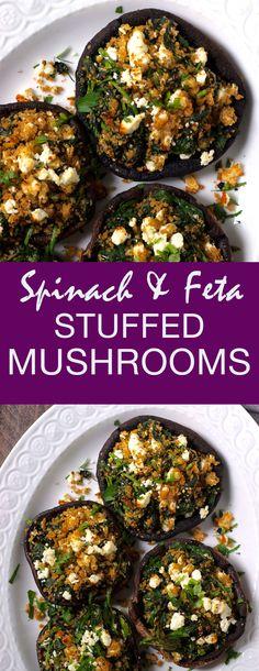 Healthy Vegetarian Greek Spinach and Feta Stuffed Mushrooms