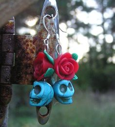 Day of the Dead Jewelry Skull earrings Blue MINI skulls & red fimo rose