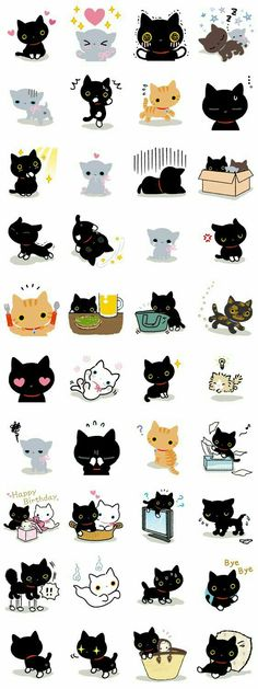 Neko, cats, text, emojis; Kawaii
