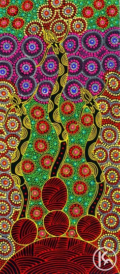 Dreamtime Sisters by Aboriginal artist -  Colleen Wallace Nungari -The painting depicts the Dreamtime Sisters. Eastern Arrernte Aboriginal people from central Australia call the spirits 'Irrernte-arenye'.  It is their role to guard special areas of land in particular sacred sites. In this painting the red patterned shape emerging represents the protected Dreaming site.