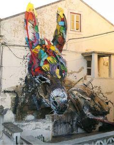 Street Art donkey - Bordalo II - Montijo, Portugal #streetArt