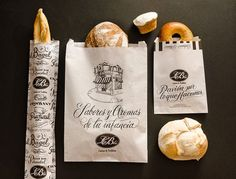 Artist duo Yani & Guille created artful new packaging for Argentinian restaurant and French kitchen Le Blé. Restaurant Branding, Bakery Branding, Bakery Packaging, Food Branding, Bakery Logo, Food Packaging Design, Packaging Design Inspiration, Restaurant Kitchen, Identity Branding