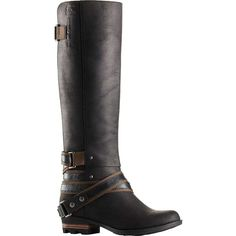 Sorel Women's Lolla Tall Boot ($265) ❤ liked on Polyvore featuring shoes, boots, knee-high waterproof boots, leather boots, water proof boots, arch support shoes and faux leather shoes
