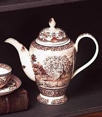 Brown Peacock Tall Teapot (8110)
