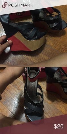 Color block wedge heel sandal Black tan and red, red strap wedge heel Shoes Wedges