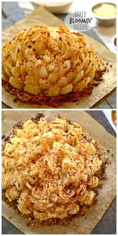 and different bread crumbs or crushed club crackers.This says: Baked Bloomin' Onion! An easy skinny version of my favorite appetizer. Baked Blooming Onion, Blooming Onion Recipes, Vidalia Onion Recipes, Vidalia Onions, Finger Food Appetizers, Appetizer Recipes, Light Appetizers, Bloomin Onion, Cooking Recipes