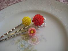 spring flower bobby pins