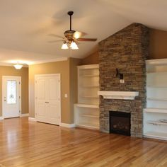 built-ins around fireplace
