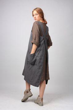Mandil delantal lino / cuadrado Cruz delantal de lino japonés delantal / delantal largo de lavarse / tallas XS a XXL