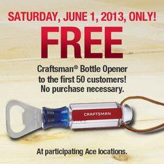 Saving 4 A Sunny Day: Free Craftsman Bottle Opener