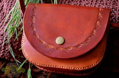 tErRacOtTa LeAthEr puRsE - one of a kind hand tooled, sewn and painted curls - handmade