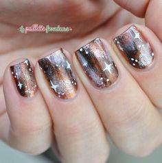Nailstorming galaxy nails - warm Brown and copper autumn galaxy nails - #nail #nailart - http://lapaillettefrondeuse.blogspot.be/2014/09/nailstorming-74-galaxy-nails.html