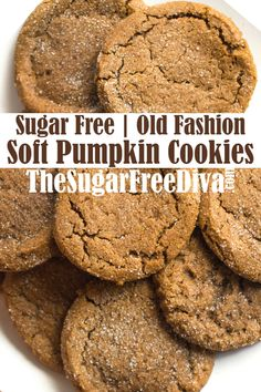 Sugar Free Soft Pumpkin Cookies--These cookies are the best! Sugar Free Cookie Recipes, Sugar Free Baking, Sugar Free Cookies, Sugar Free Desserts, Baking Recipes, Dessert Recipes, Sugar Free Muffins, Flour Recipes, Pasta Recipes