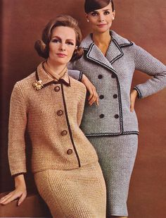 SUIT - Crochet Double Breasted Suit Pattern --on the right-- Crochet Double, Knit Crochet, Crochet Pattern, Moda Vintage, Vintage Mode, Vintage Knitting, Vintage Crochet, 1960s Fashion, Vintage Fashion