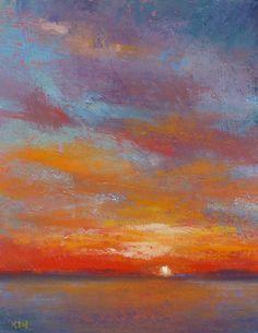 Florida Sunset Landscape Original Pastel by KarenMargulisFineArt, $125.00