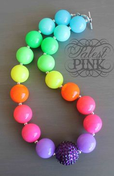Neon Rainbow Necklace by PalestPink. Chunky Bead Necklaces, Bubble Necklaces, Chunky Beads, Girls Necklaces, Little Girl Jewelry, Kids Jewelry, Beaded Jewelry, Beaded Necklace, Beaded Bracelets