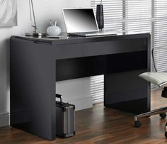 Black Gloss Computer Desk Table Workstation Drawer Office Reception Writing Home