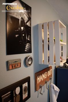Vintage Car Boys Room- love the board with old window handles on it!!