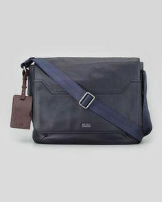 Hugo Boss Werton Leather Messenger Bag, Navy on shopstyle.com