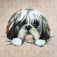 Dog Illustration, Shih Tzu, Cute Dogs, Paintings, Anime, Visual Arts, Paint, Painting Art, Cartoon Movies