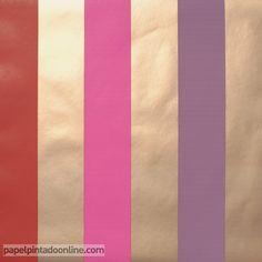 Papel Pintado ARTIST 71_41_83, papel de rayas, en rojo, rosa fucsia, lila y dorado.