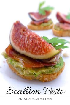 Scallion Pesto Ham & Fig Bites