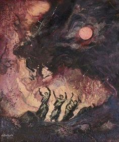 Hector Ayala (Mexican, - La Lune aka Aquelarre (Witches Gathering), Paintings: Oil on Wood Dark Fantasy Art, Dark Art, Arte Horror, Horror Art, Art Macabre, Art Sinistre, Arte Punk, Arte Obscura, Illustration Art