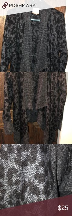 772398001c5a Leopard print gray and black cardigan Thick sweater like cardigan in leopard  print gray and black
