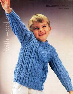 b3d4e663f Childs aran sweater knitting pattern pdf childrens aran cable jumper crew  neck 22-28