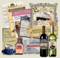 Titanic Murder Mystery download...only $17 and you can print boarding passes, wine labels, invitations, recipes and menus.  Maybe even a party game?