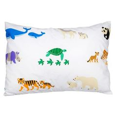 The whimsical design on this Olive Kids Endangered Animals 100% Cotton Pillow Casewill brighten your child's room, and its 100% premium cotton, percale material sets the standard for quality and comf
