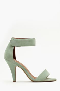You will want to add this shoe to your spring wish list. Mint suede pumps. By Jeffrey Campbell.