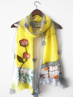 Yellow scarf, women's accessories, yellow shawl, hand-made,custom design, Turkish fabrics, ethnic fabrics, women's fashion, patchwork, trend