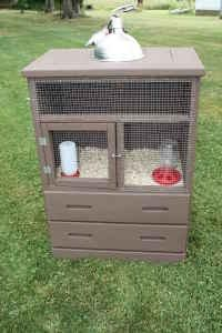 Cool repurposed dresser as a brooder- could even be a bunny hutch. You put wire where the bedding is, and then put a plastic tub in the drawer below it to easily catch the poop. Then just open the drawer, dump the mess, rinse, and repeat. Then use the bottom drawer to store their food/litter/bedding.