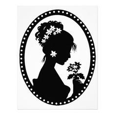Victorian Cameo Silhouette Custom Letterhead: