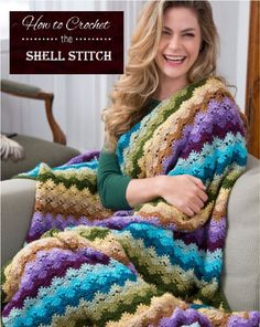 Twilight Shells Throw Free Crochet Pattern from Red Heart Yarns. (Yes, it's crochet, but so pretty. Mode Crochet, Crochet Shell Stitch, Knit Or Crochet, Crochet Crafts, Crochet Hooks, Crochet Projects, Crochet Crowd, Easy Crochet, Crochet Humor