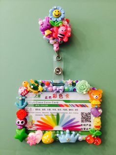 Items similar to CUSTOM - Maria - ID Badge Holder - Decoden Decorated - Rainbow Assortment on Etsy Badge Holder Clips, Badge Reel, Retractable Id Badge Holder, Nurse Badge, Bottle Cap Images, Clay Design, Decoden, Polymer Clay Crafts, Color Card