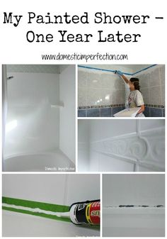 In case we can't redo the bathroom right away. This woman painted her shower, here's how it's holding up after a year of use! (Also includes link to original tutorial. Painting Bathtub, Painting Tiles, Painting Old Bathroom Tile, Ceramic Tile Bathrooms, Tub Tile, Shower Tile Paint, Tub And Tile Paint, Can You Paint Tile, Homemade Home Decor