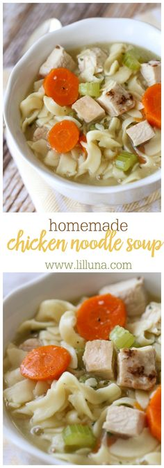 Delicious Homemade Chicken Noodle Soup - one of our favorite soup recipes to enjoy in the fall and winter. Delicious noodles, chicken, & carrots in a yummy broth!