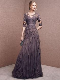 A-line Bateau Floor Length Tulle Prom Dress Evening Drsess With Appliques  SKA051 81133ddf5