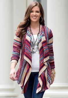 Multi Striped Waterfall Cardigan- Plus Best Travel Clothes, New Outfits, Cute Outfits, Waterfall Cardigan, Pretty Girl Swag, Catio, Fall Sweaters, Diva Fashion, My Outfit